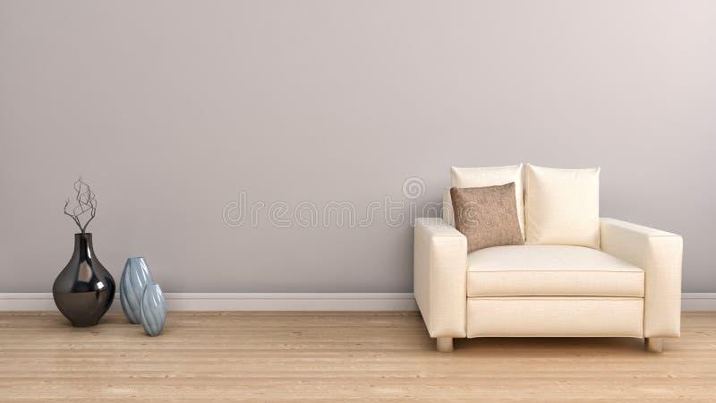 White Single Chair Furniture and Vase Decors. 3d illustration.  stock illustration