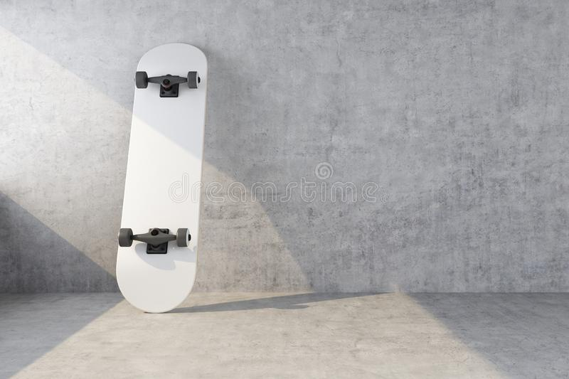White skateboard on concrete wall background. 3d rendering royalty free stock image