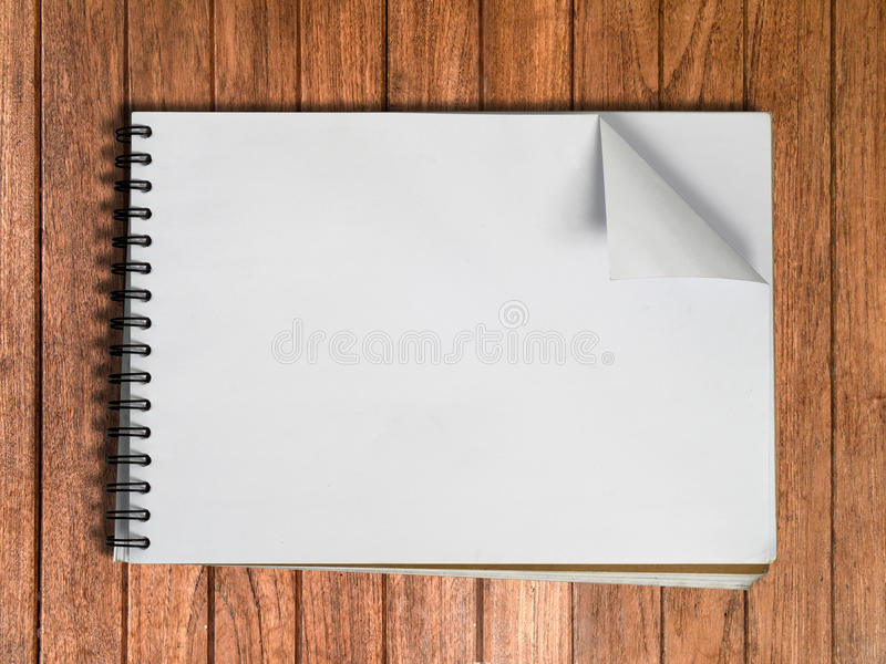 Download White Sketch Book One Page On Wood Stock Photo - Image: 33124036