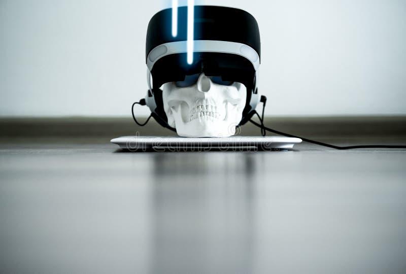 White skull on stand in VR helmet. Digital concept. royalty free stock images