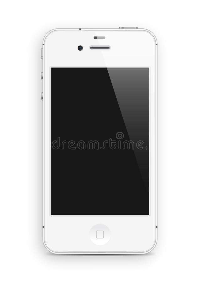 White smart phone. Isolated on white background stock illustration