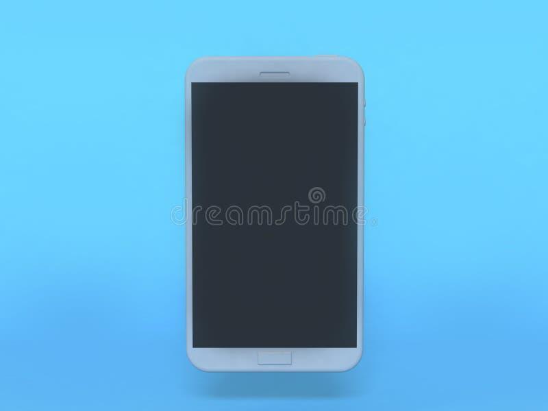 White smart phone mock up black display blue background 3d rendering. 3d white smart phone mock up black display blue background 3d rendering vector illustration