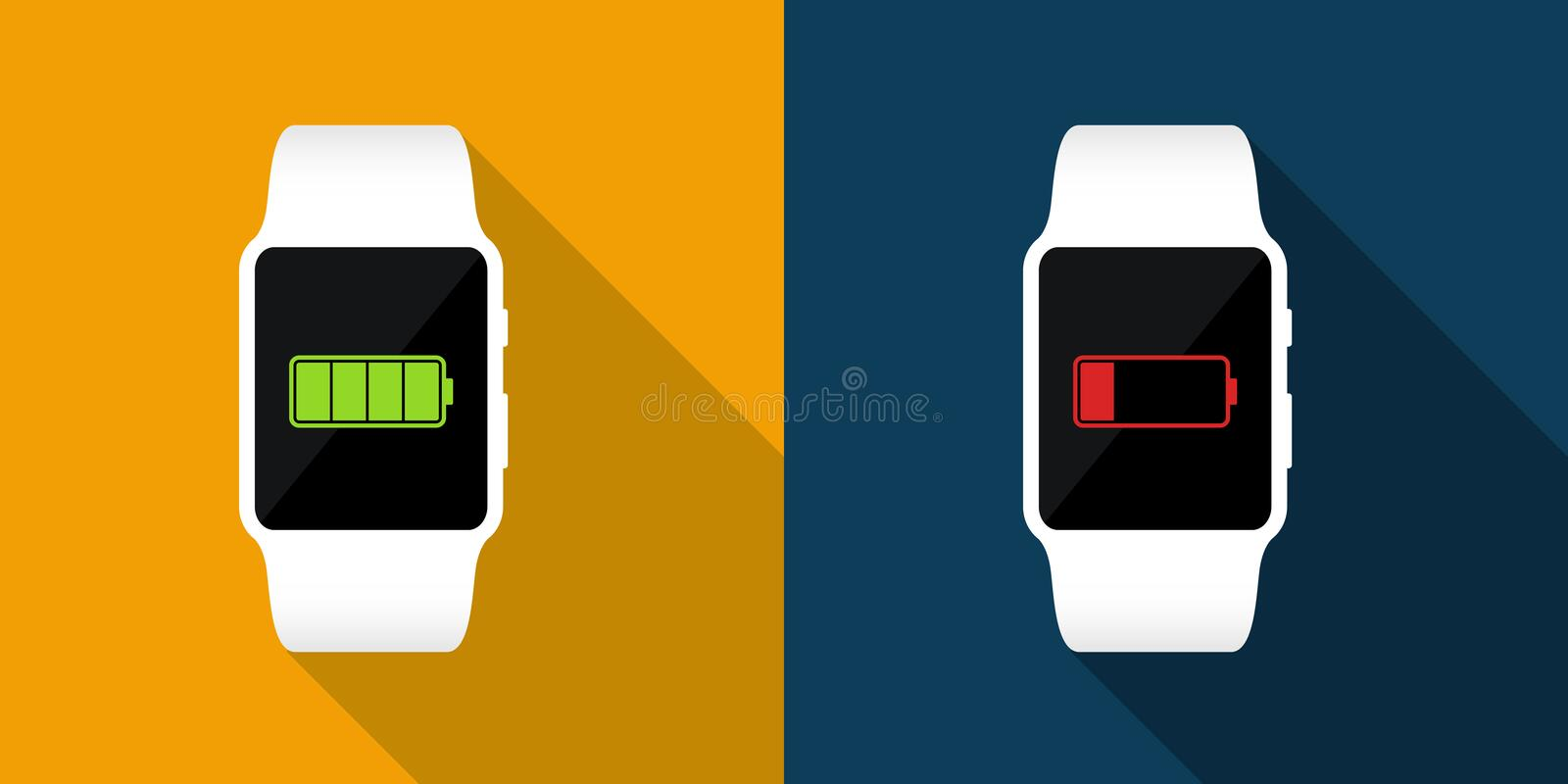 White smart watches with full and low battery icon. Vector flat illustration. Smart watches. Morning full battery, night low battery vector illustration