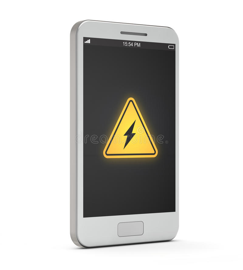 Free White Smartphone Battery Allert Icon On The Screen Royalty Free Stock Images - 43166059
