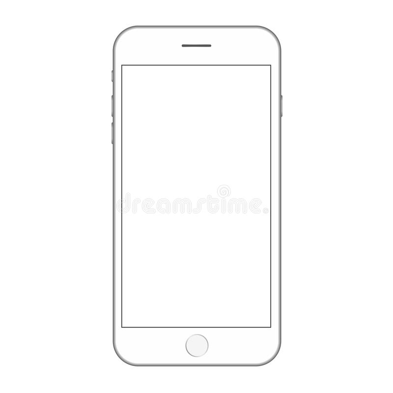 White smartphone with white empty screen  and buttons vector. Mobile phone vector eps10. Smartphone white color and white screen. royalty free illustration