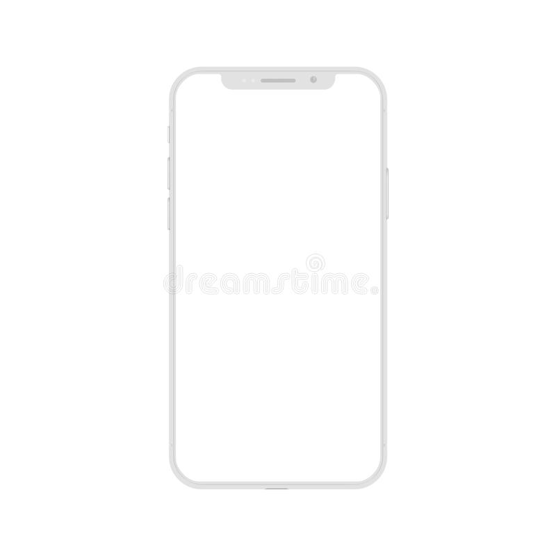 White smartphone with empty touch screen, new model mobile - vector royalty free illustration