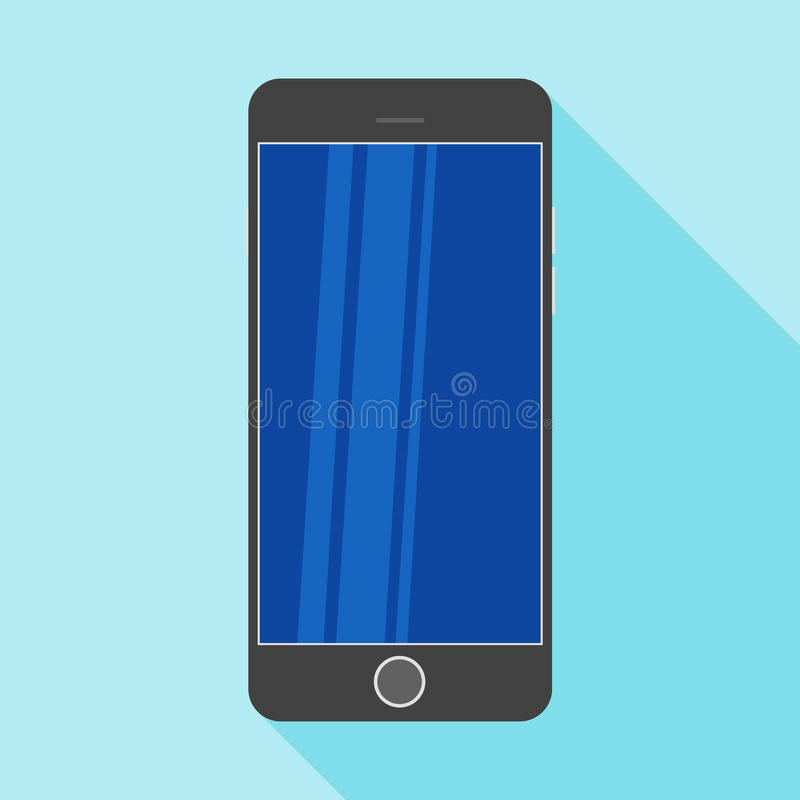 White smartphone in a flat design with long shadow. Smartphone flat icon with blank display. Modern Smartphone symbol. Black mobile smartphone flat design royalty free illustration