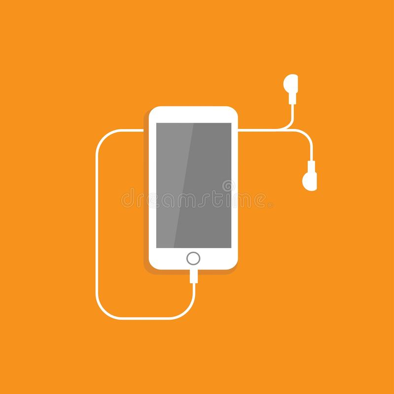 White smartphone with headphones. Flat vector icon isolated on orange color. mobile device. Listen sound sign. Music and volume symbol. Good for web and mobile royalty free illustration