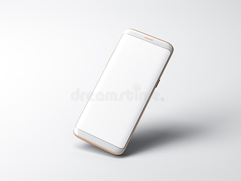 White Smartphone mockup on gray background vector illustration