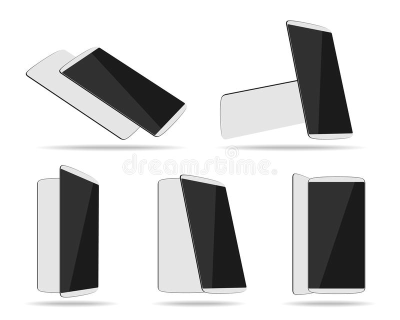 White smartphones face with back different foreshortening vector illustration