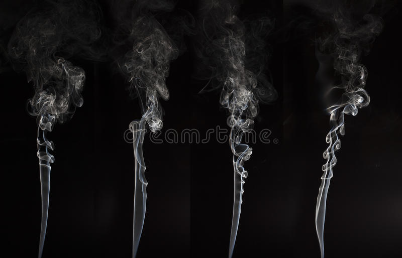White smoke on black background stock photography