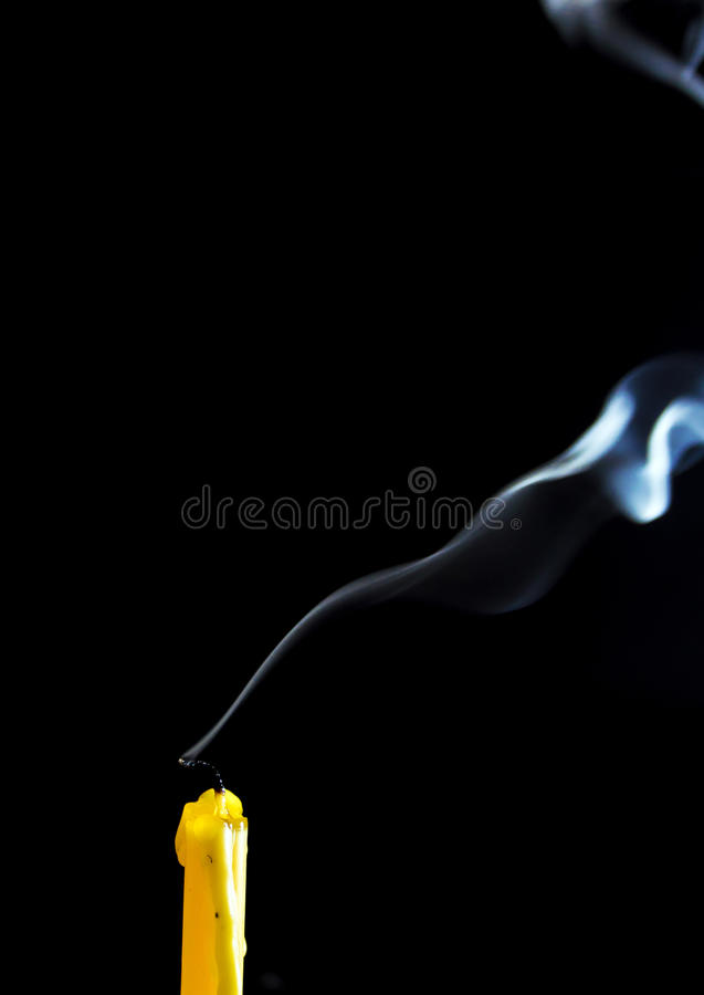 White smoke when the candle goes out. Texture of white smoke when the candle goes out stock image