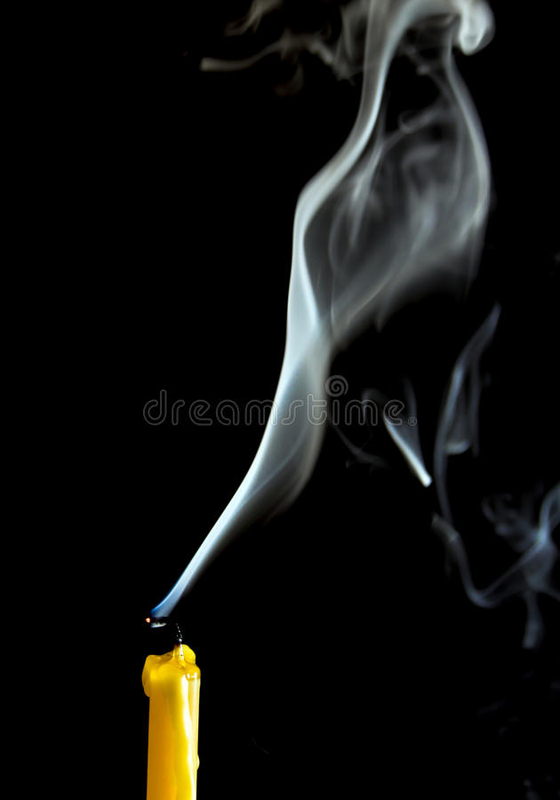 White smoke when the candle goes out royalty free stock photo