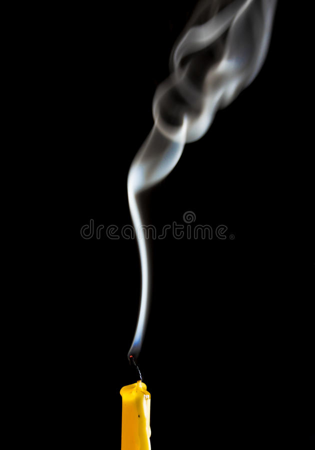White smoke when the candle goes out stock photo