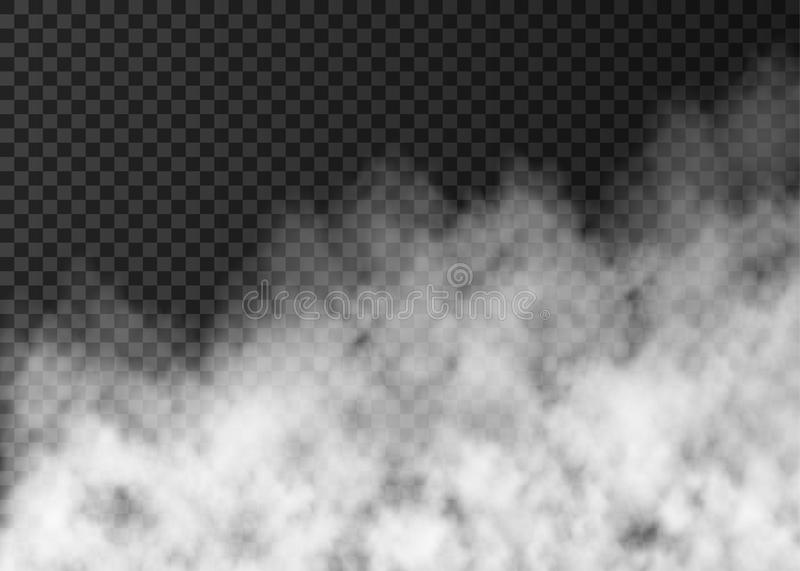 White smoke or fog isolated on transparent background. White smoke isolated on transparent background. Steam special effect. Realistic vector fire fog or mist stock illustration