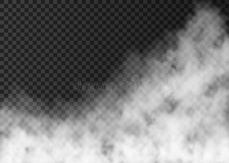 White smoke or fog isolated on transparent background. White smoke isolated on transparent background. Steam special effect. Realistic vector fire fog or mist vector illustration