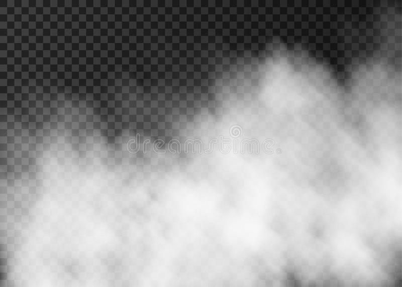 White smoke or fog isolated on transparent background. White smoke isolated on transparent background. Steam special effect. Realistic vector fire fog or mist royalty free illustration
