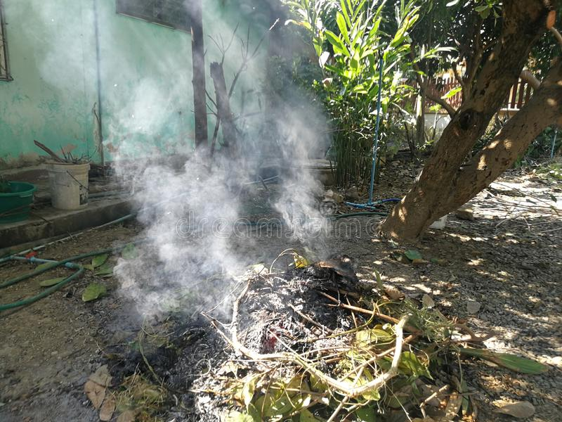 White smoke from piles of dry leaves and weeds from burning stock image