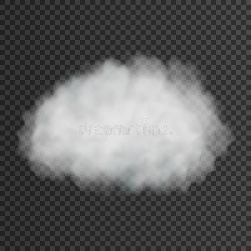 White smoke puff isolated on transparent background. Vector illustration. royalty free illustration