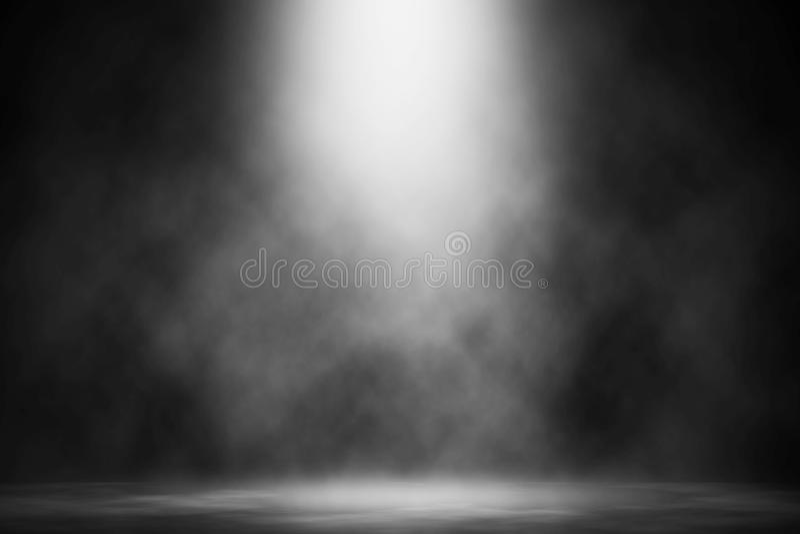 White smoke spotlight on floor stage. stock photo