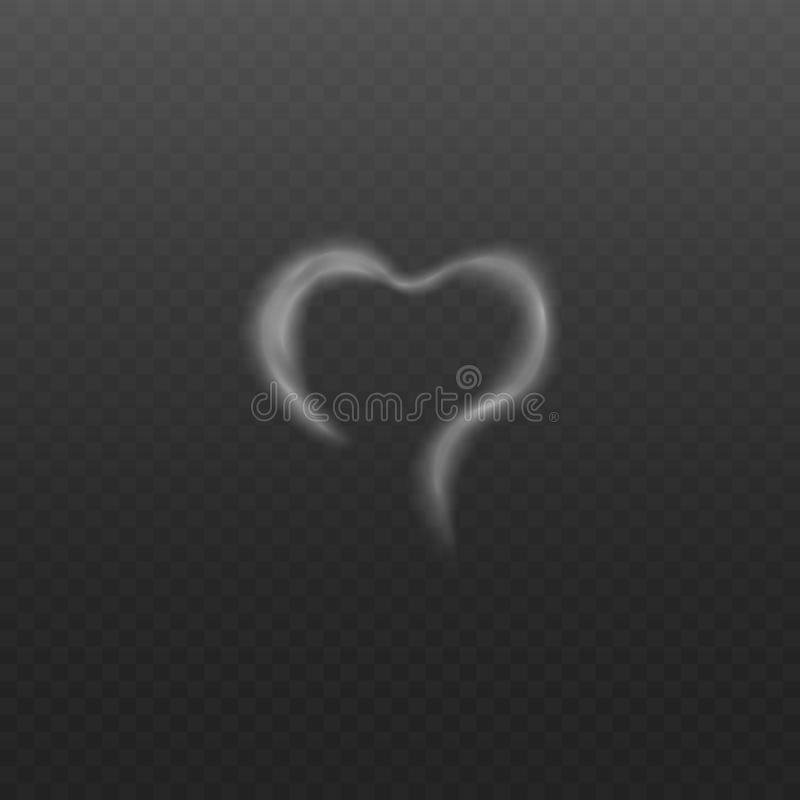 White smoke or steam in the shape of heart realistic vector illustration isolated. royalty free illustration
