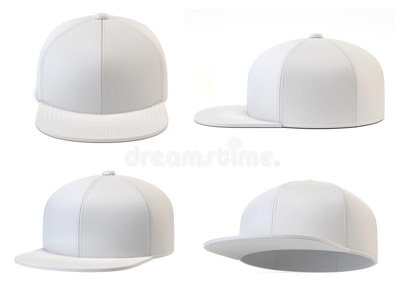 White snap back mock up, blank hat template, various views, isolated on white background 3d rendering stock illustration