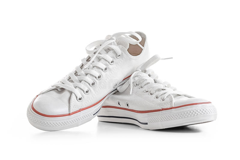 White sneakers on white royalty free stock photo