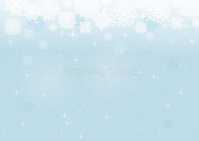 White snow on the blue mesh background, winter and Christmas theme. Abstract vector card with snowflakes royalty free illustration
