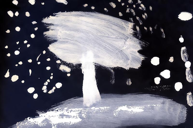 White snow covered tree on a black background. Snowing. Children`s drawing. Watercolor. royalty free stock images