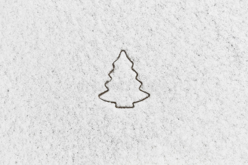 Download White Snow With Drown Christmas Tree Shape Stock Image - Image: 28079487