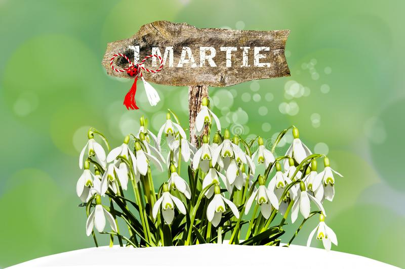 White snowdrops and Romanian traditional spring symbol stock images