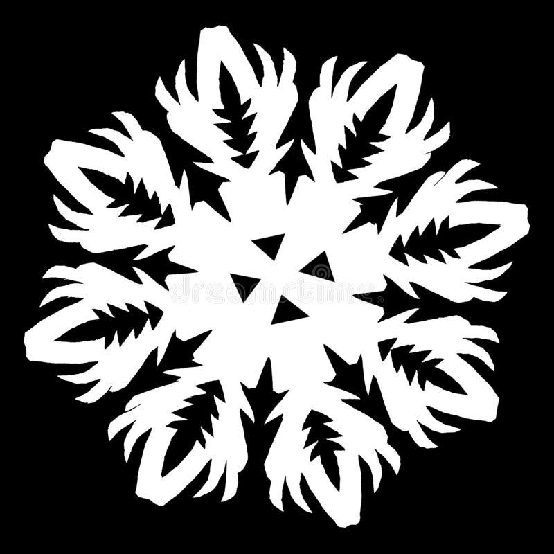 White snowflake on a black background royalty free stock images