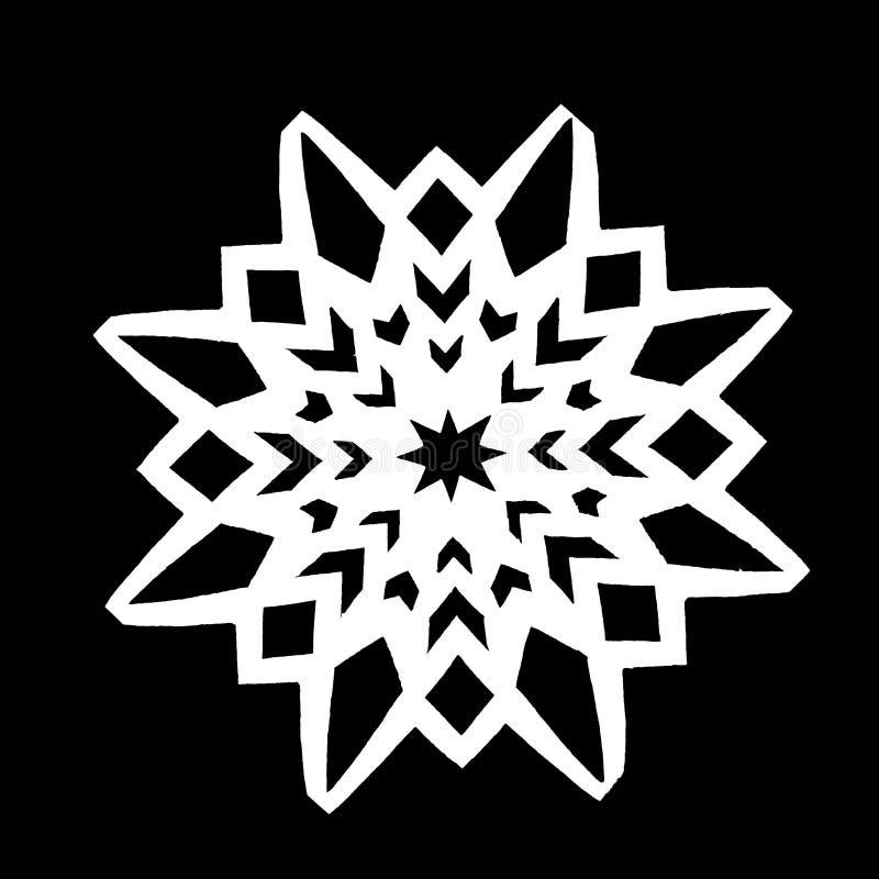 White snowflake on a black background royalty free stock photos