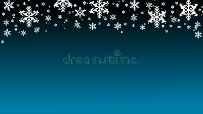 White snowflakes on black blue gradient background copy space 3D illustration. White snowflakes on black blue gradient winter background copy space 3D royalty free illustration