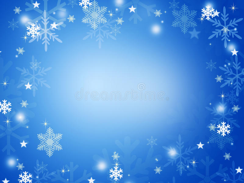 White snowflakes. On a blue background vector illustration