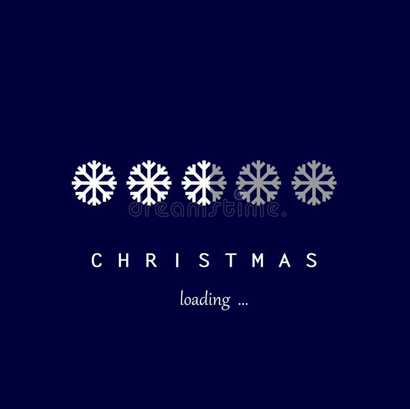 White snowflakes christmas loading on the dark blue background, vector ilustration. White snowflakes christmas loading on the dark blue background square, vector stock illustration