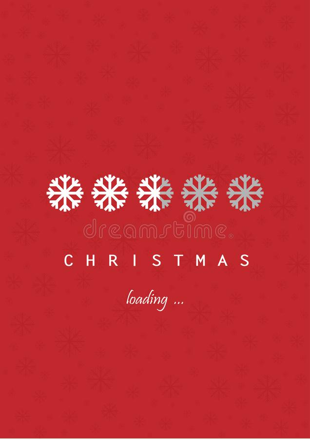 White snowflakes christmas loading on the red background, vector ilustration. White snowflakes christmas loading on the red background vertical, vector royalty free illustration