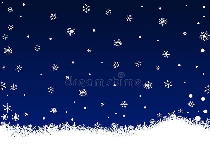 White SnowFlakes on Dark Blue stock illustration