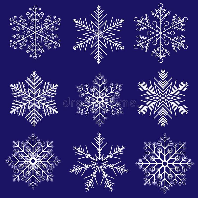White snowflakes on a dark blue winter Christmas background. New Year theme vector illustration