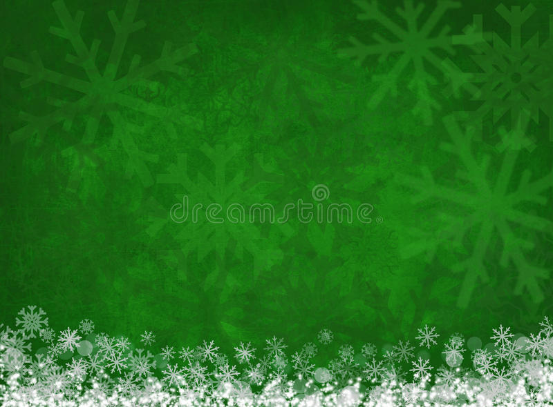 White snowflakes on green christmas background vector illustration