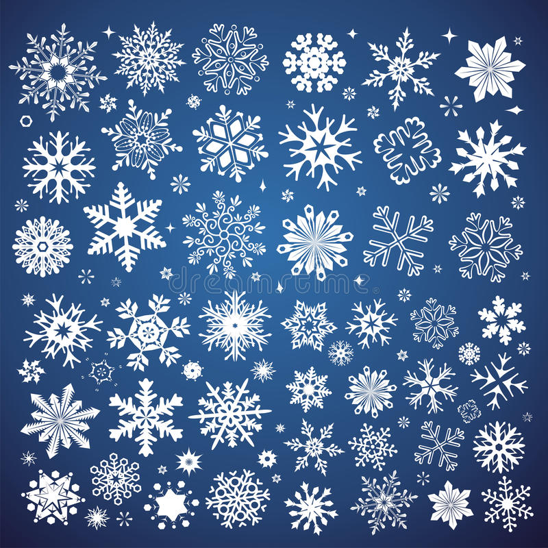 White snowflakes icon on gradient background blue and white colo. Rful. Collection graphic art for your design Merry Christmas and Happy New Year royalty free illustration