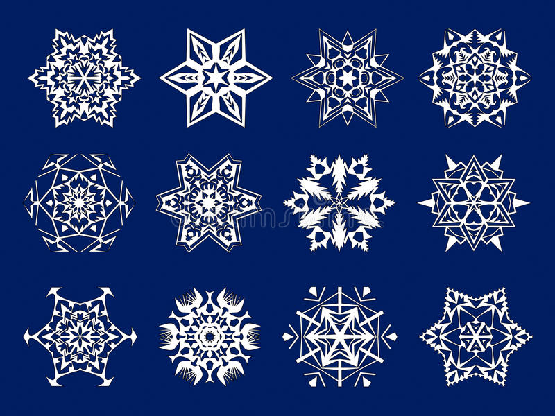 White snowflakes kirigami royalty free stock photography