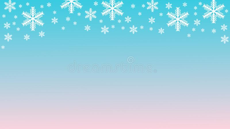 White snowflakes on light blue pink gradient background copy space 3D illustration. White snowflakes on light blue pink gradient winter background copy space 3D royalty free stock image