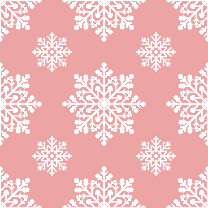 White snowflakes on pink background seamless pattern stock image