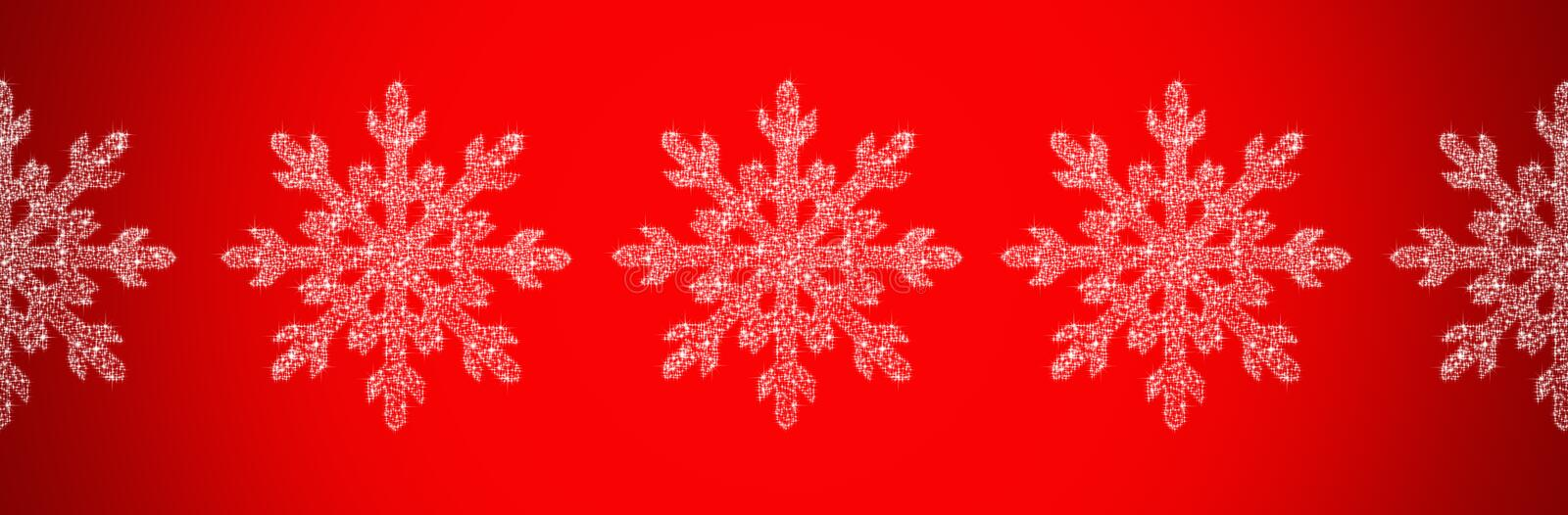 White snowflakes on a red background. Happy New year and merry Christmas. Winter holidays, holidays. stock illustration