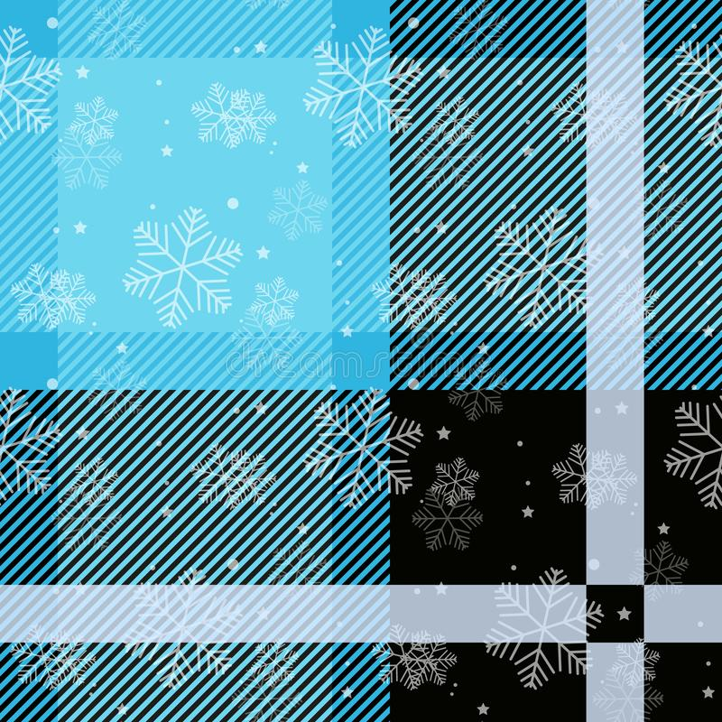 White snowflakes seamless with blue tartan pattern. Winter white snow and plaid holidays collection. Vector illustration stock illustration
