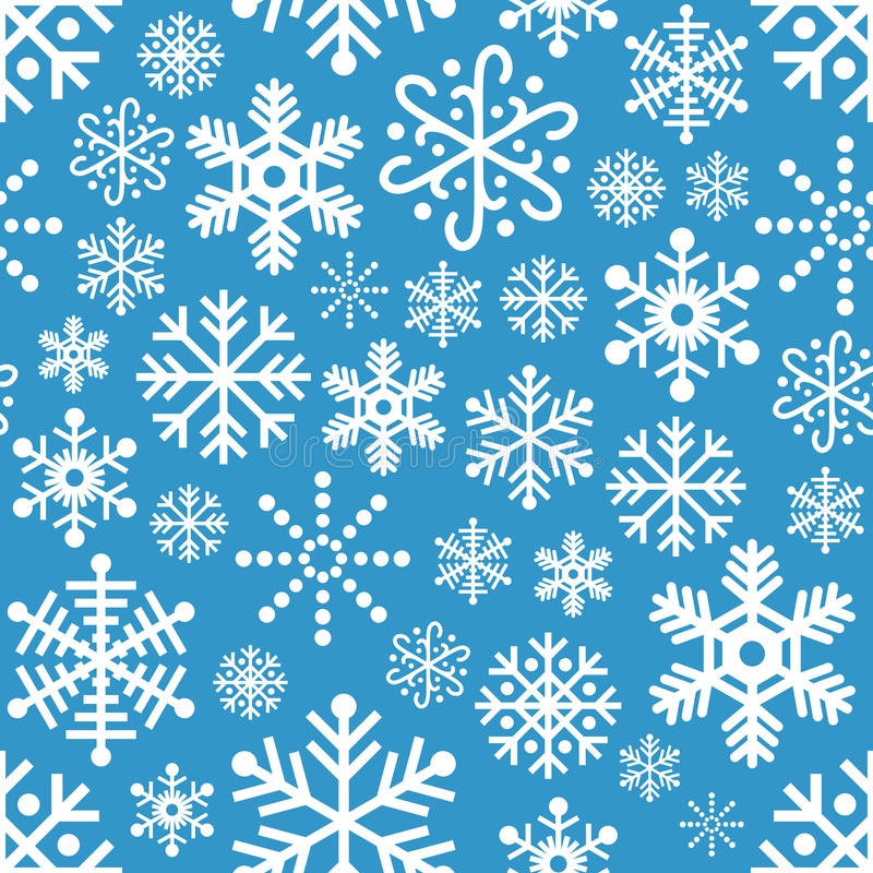 White Snowflakes Seamless Pattern on Blue stock images