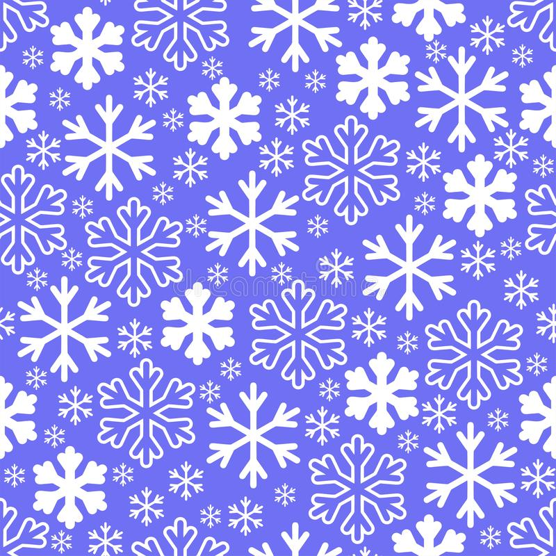 White snowflakes on winter gray sky background. Christmas vector royalty free illustration