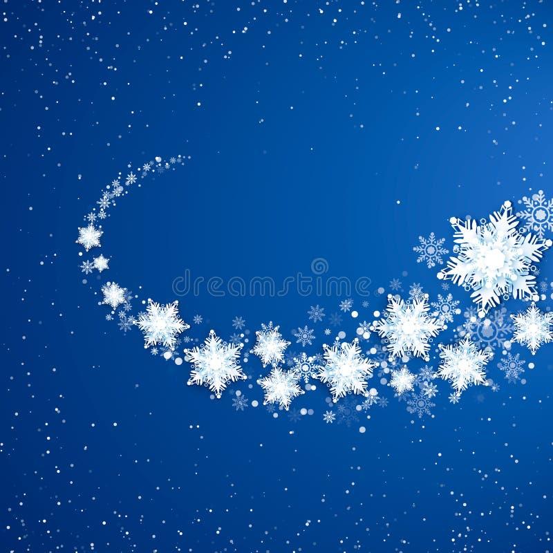 White Snowflekes Trail. Snowfall on blue background. Snowstorm pattern. Vector illustration stock illustration