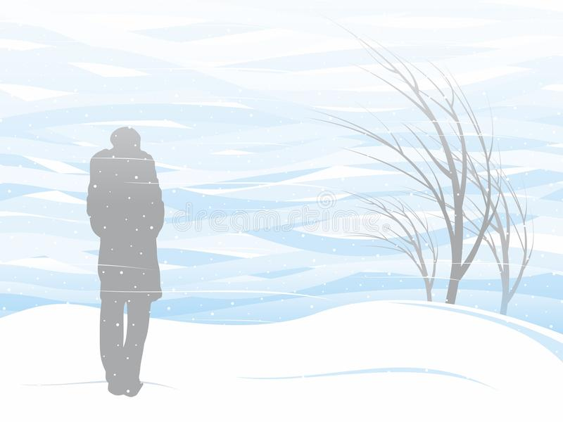 White snowstorm. Girl and white snowstorm. Vector format